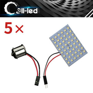 5pcs Cool White 48 Smd Led Panel Dome Interior Plate Light Bulbs Ba15s Adapter