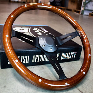 14 Matte Black Steering Wheel Dark Stained Wood Grip With Rivets Factory 2nd