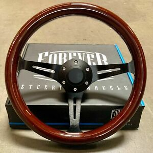 14 Inch 350mm Black Steering Wheel With Dark Wood Grip 6 Hole Classic