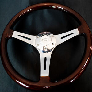 14 Inch Chrome Polished Steering Wheel Dark Wood 3 spoke With Chevy Horn Button