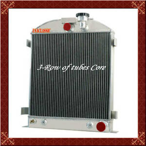 Aluminum 3 Row Radiator For Ford Grill Shells 3 Chopped Chevy Engine 1939 1940