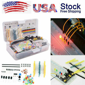 Electronics Component Starter Kit W 830 Tie points Breadboard Cable Resistor Us
