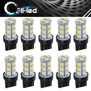 10pcs 7443 White 18 Smd Backup Reverse Tail Turn Signal Led Light Bulbs