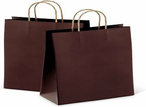 Paper Shopping Bags 16x6x12 Kraft Paper Bags 25 Coffee Retail Bags Brown Carrier