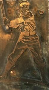 Rare Antique Baseball Copper Wood Printing Block 3