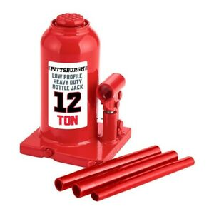 Pittsburgh 12 Ton Hydraulic Low Profile Heavy Duty Bottle Jack