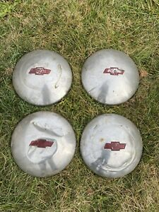 Chevrolet Chevy Hubcaps Vintage Dog Dish Set Of 4
