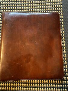 Bosca Usa 12 X 10 Vintage Hand stained Brown Leather 3 Ring Planner Binder