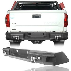 For Toyota Tundra 14 21 Rear Bumper Heavy Duty Steel With Led Light D Ring