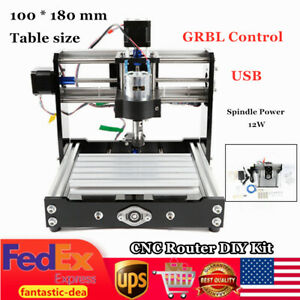 1018 Cnc Router Mini Engraving Milling Machine Grbl Control 12w Spindle Usb Diy
