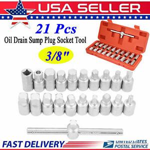 21 Pcs Oil Drain Sump Plug Socket Wrench Set V Steel 3 8 Oil Change Tool Usa
