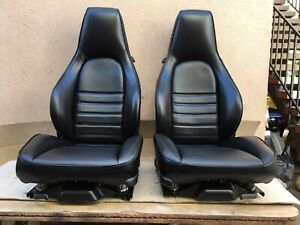 Porsche 911 964 Sport Seats In Black Imported Leather Same Grain As Factory