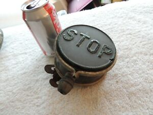 Vintage Rare Black With Green Glass Stop Tail Light Lamp Car Truck With Bracket