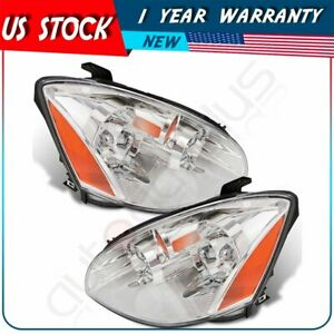 Fits 2002 2004 Nissan Altima One Pair Clear Lens Headlights Headlamps Left Right