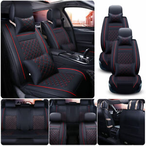 Luxury Pu Leather Black Red Car Seat Cover Front Rear Full Set Universal Suv Us