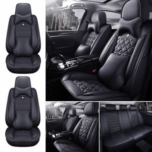 Luxury Leather Pu Car Suv Seat Cover Protector Accessories Full Set Universal Us