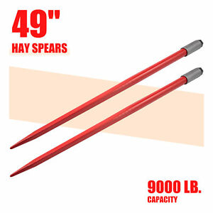 Pair Of 49 Hay Bale Spears 4500lb Cap Each For Bobcat Skidsteer Tractor More