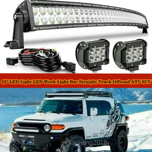 42 Led Light Bar Roof Cube Pods Combo Kit For 2005 2015 Toyota Tacoma Curved