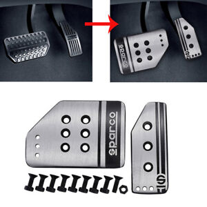 2pcs Universal Steel Car Clutch Brake Foot Pedals Cover Treadle Non slip Silver