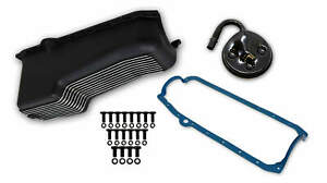 Weiand Aluminum Oil Pan Kit 4qt Black For 1986 2002 Small Block Chevy