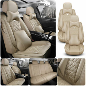 Luxury Pu Leather Car Seat Covers Protector Full Set Universal 5 Sits Suv Truck