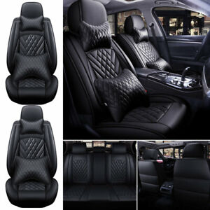 2021 Black Luxury Pu Leather Car Seat Cover Full Set Protector Universal 5 Sits