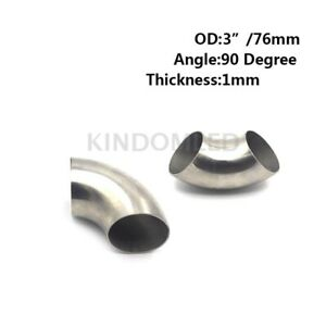 Excellent 3 Inch 201 Stainless Steel 90 Degree Bend 76mm Elbow Exhaust Pipe