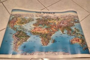 Vintage Unique Media The World Hand Drawn Map 1996 Edition