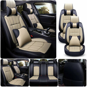 Luxury Pu Leather Beige Car Seat Cover Full Set Front Rear Universal 5 Sits Suv