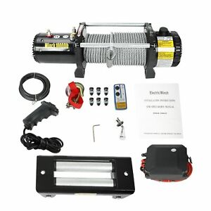 10000 Lb Electric Recovery Winch 28m Steel Rope For 12v 4wd Offroad Trailer Suv