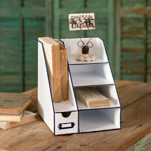Rustic Metal Desk Organizer With Six Bins Country Office Supplies Caddy Storage
