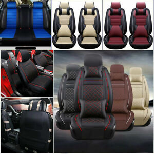 11pcs Car Seat Cover Full Set Cushion Universal Pu Leather Protector 5 Seats Suv