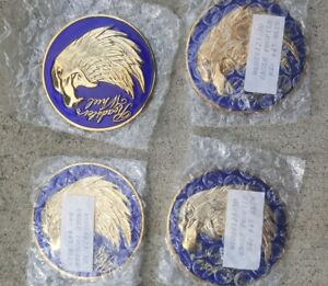 Nos Blue Roadster Wire Wheel Eagle Head Medallions