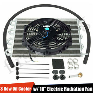 Universal 15 1 2 Transmission Oil Cooler Aluminum 10 Cooler Radiator Fan Kit