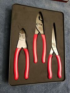 Snap on Tools Usa New 100th Anniversary 3pc Red Soft Grip Pliers Set Pl307acfce