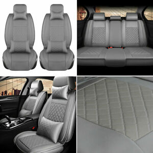 Full Set Luxury Pu Leather Car Seat Covers Universal 5 Seats Suv Cushion Gray Us