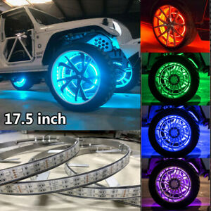 4x Rgb Double Row 17 5 Led Wheel Lights 4rings For Truck Bluetooth Control Ip68
