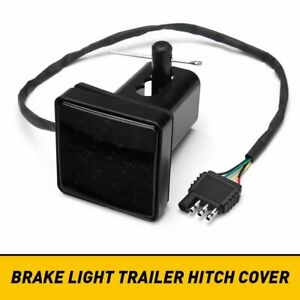 2 Trailer Truck Hitch Towing Receiver Cover Smoked Lens 15 Led Brake Light New