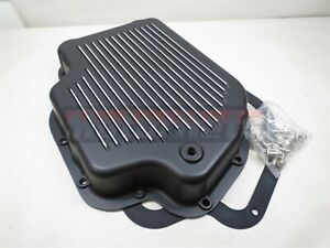 Chevy Gm Pontiac Turbo Th400 Black Aluminum Finned Transmission Pan Stock Hotrod