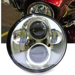5 75 5 3 4 Silver Motorcycle Projector Led Headlight Dot Sea For Harley