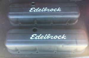 Edelbrock 4683 Signature Series Valve Covers Bbc Tall Black