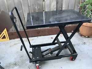 Hydraulic Scissor Cart Lift Table Cart 500lbs Used One Time