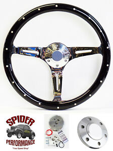 70 73 Suburban Blazer Chevy Pickup Steering Wheel 15 Black Wood Rivet