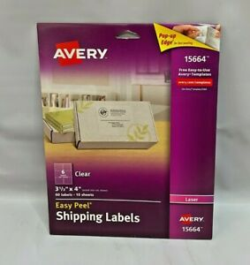 Avery Clear Easy Peel Shipping Labels For Laser Printers 3 1 3 X 4 Box Of 60