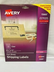 Avery 15665 Full Sheet Shipping Labels Clear 10 Labels 8 5 X 11 Open Box