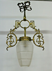 Antique French Brass Louis Xvi Glass Lantern Pendant Lamp Chandelier