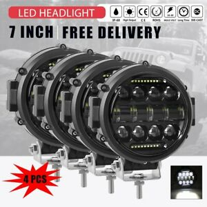 4x 7 Inch 200w Drl Led Work Lights Round Off Road For Jeep Bumper Truck Boat 4wd