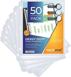 Performore Heavy Duty Clear Sheet Protectors Top Load Pack Of 50 Reinforced