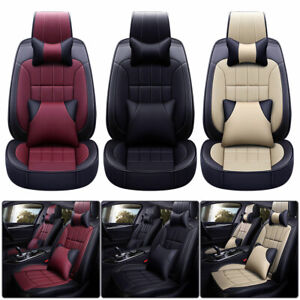 Luxury Pu Leather Car Seat Covers Universal Full Set Interior Front rear 5 sits