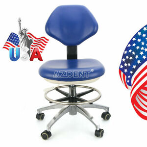Dental Doctor Assistant Stool Adjustable Height Mobile Chair Pu Leather Blue Usa
